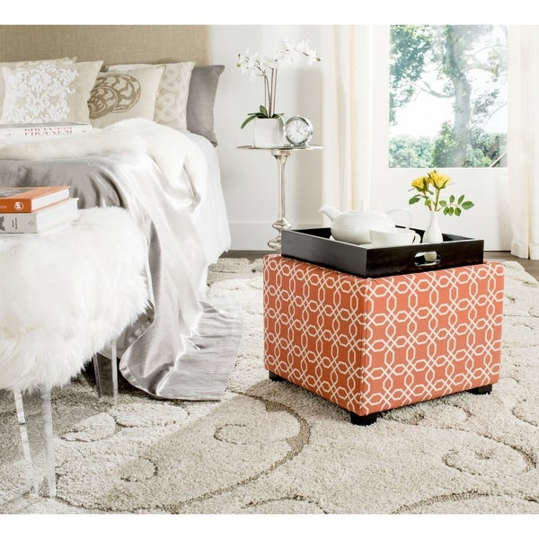 Safavieh Harrison Orange/ White Single Tray Ottoman