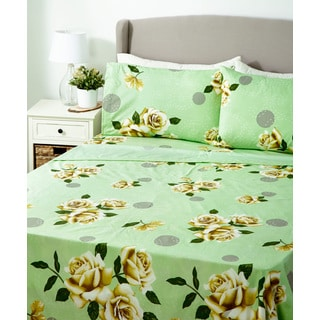 Glory Home 1000 Series 6-piece Sheet Set Yellow and Green Floral
