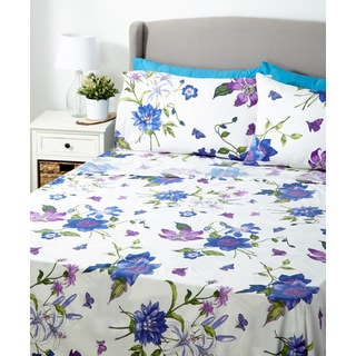 Glory Home 1000 Series 6-piece Sheet Set Purple and Blue Floral