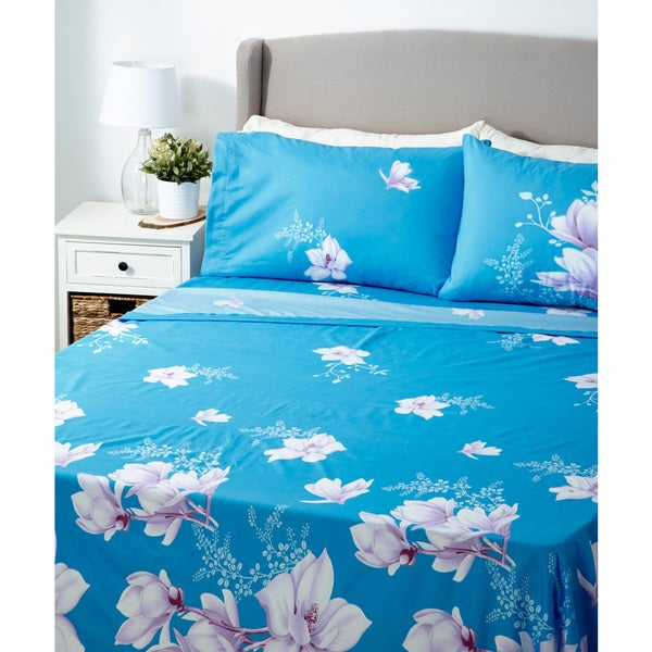 Glory Home 1000 Series 6-piece Sheet Set Blue Background Floral