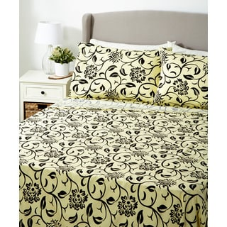 Glory Home 1000 Series 6-piece Sheet Set Black and Yellow Geometric