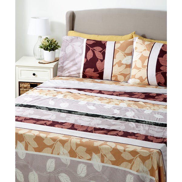 Glory Home 1000 Series 6-piece Sheet Set Red Floral Stripes