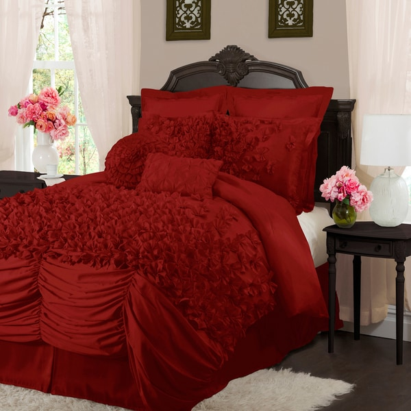L'Amour Eternel Lucia 4-piece King Contemporary Comforter Set Red (As Is Item)