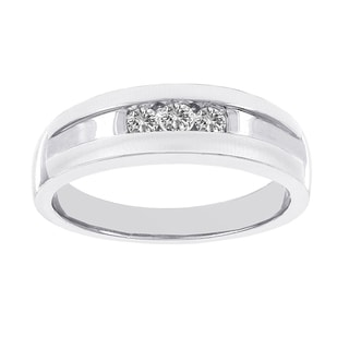 H Star 14k White Gold Men's 1/4ct TDW Diamond Satin and Polished Band (I-J, I2-I3)