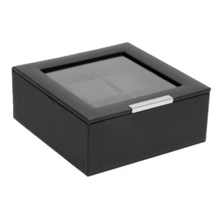 Wolf Designs Black Pebbled Faux Leather 6-slot Watch Box