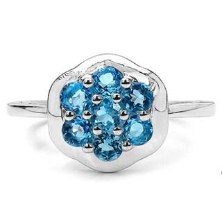 Malaika Sterling Silver 7/8ct Swiss Blue Topaz Flower Ring