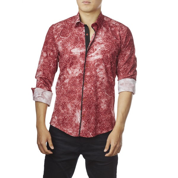 Decaprio Men's Short Sleeve Faded Red Button-Down Shirt