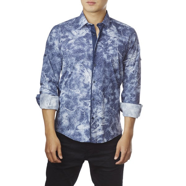 Decaprio Men's Long Sleeve Blue Print Button-Down Shirt