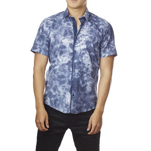 Decaprio Men's Short Sleeve Blue Print Button-Down Shirt