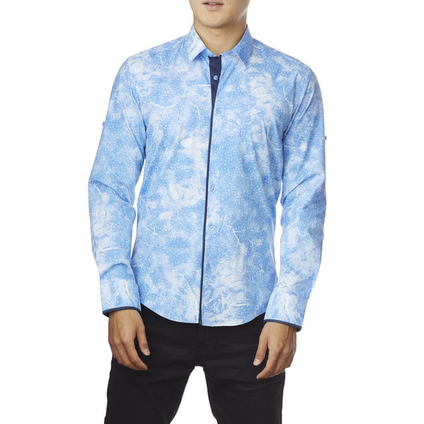 Decaprio Men's Long Sleeve Light Blue Button-Down Shirt
