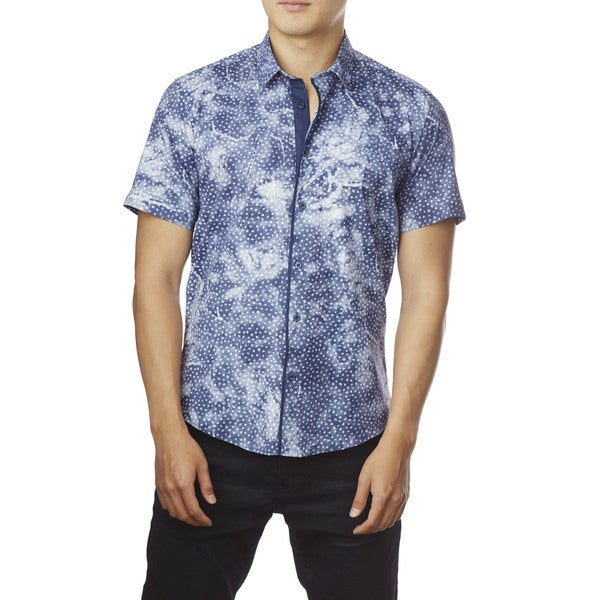 Decaprio Men's Short-Sleeve Blue Button-Down Shirt
