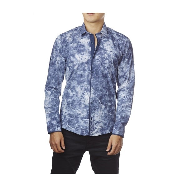 Decaprio Men's Long Sleeve Blue Button-Down Shirt