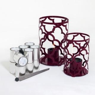TF Essentials Mediterranean Purple Outdoor Steel Lantern Set