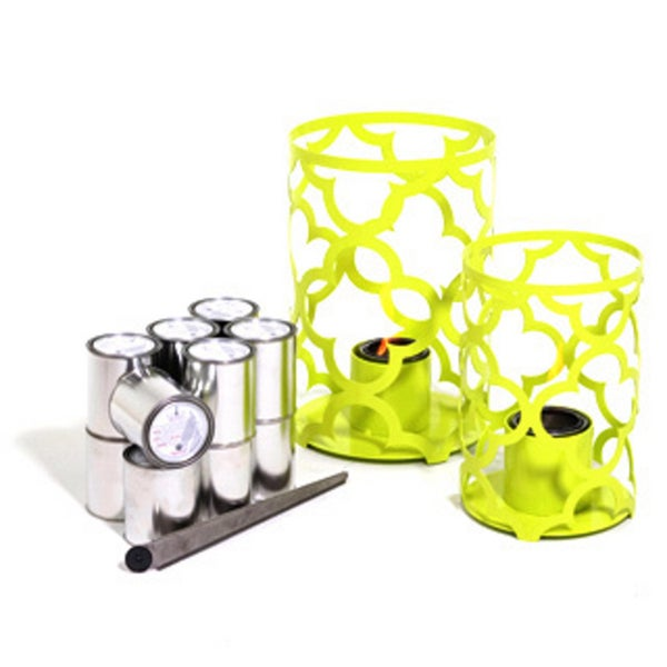 Mediterranean Large and Small Outdoor Steel Lanterns with 24 Packs of SunJel Fuel in Sweet Lime