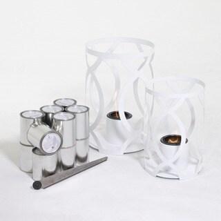 TF Essentials Savannah White Outdoor Steel Lantern Set