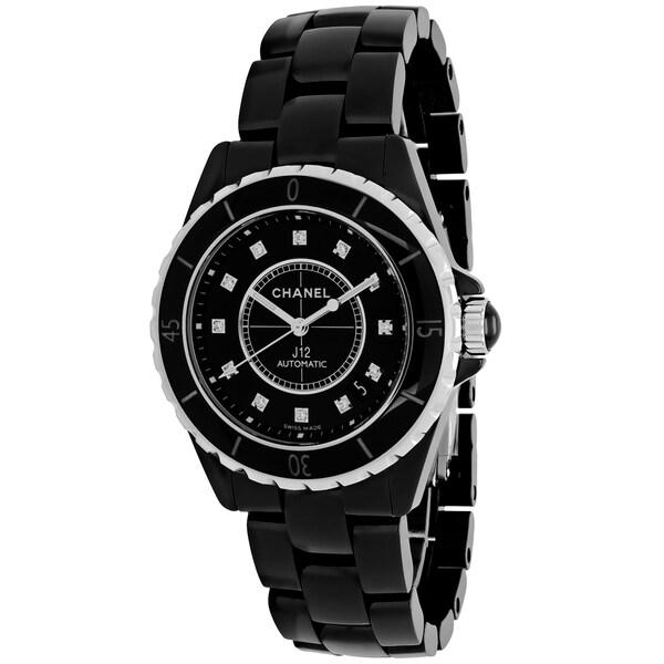 Chanel Women's H1626 J12 Automatic Round Polished Black Ceramic Bracelet Watch
