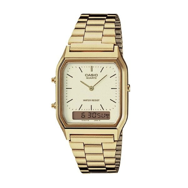 Casio Men's AQ-230GA-9D Classic Rectangle Goldtone Stainless Steel Bracelet Watch