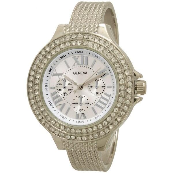 Olivia Pratt Women's Elegant Jeweled Stainless Steel Cuff Watch