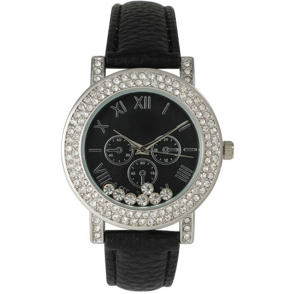 Olivia Pratt Women's Rhinestone Rimmed Free-floating Jewels Leather Strap Watch