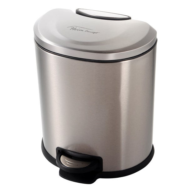 Heim Concept 1.6-gallon Semi-round Stainless Steel Step Trash Can with Slow Down Close
