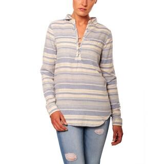 Women's Linen Blue Beach Striped Tunic