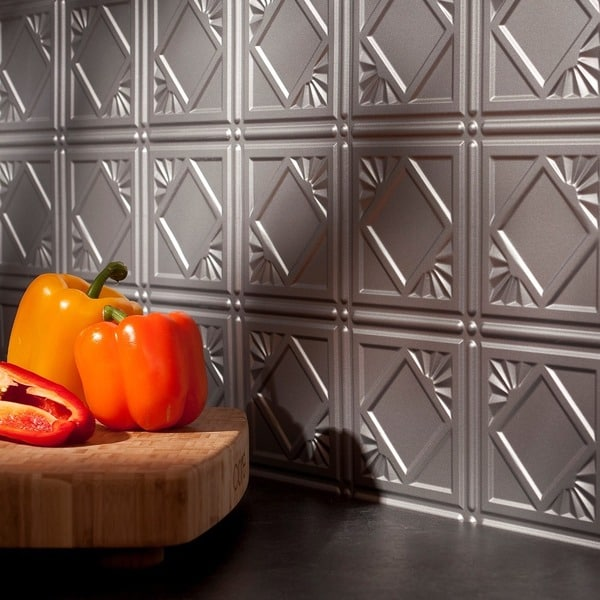 Fasade Traditional 4 Argent Silver Backsplash Panel