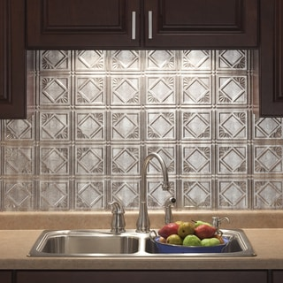 Fasade Traditional Style #4 Crosshatch Silver Backsplash Panel
