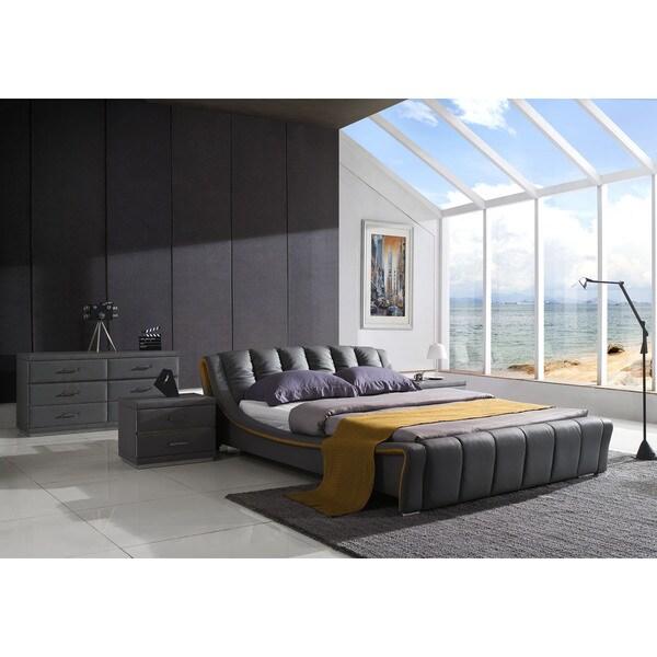 Verona Modern Graphite Grey Platform Bed, 2 Night Stands