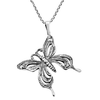 Fabulous Swirl Tilted Butterfly Sterling Silver Necklace (Thailand)