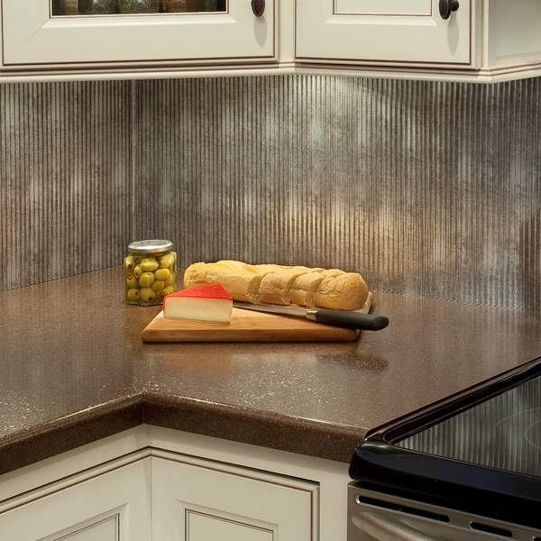 Fasade Rib Crosshatch Silver 18x24 Backsplash Panel