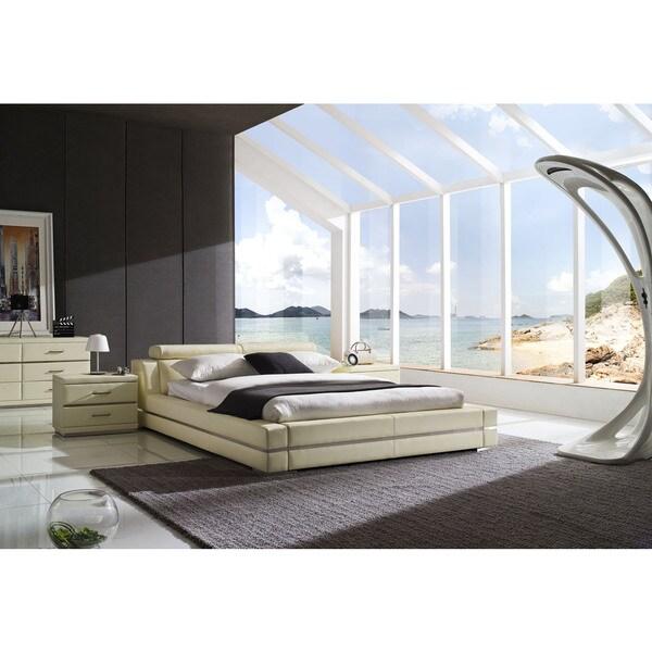 Firenze Modern Ivory Platform Bed, 2 Night Stands