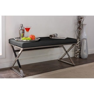 Benoit Contemporary Black PU Leather Upholstered Bench With Stainless Steel Legs