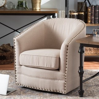 Porter Modern and Contemporary Classic Retro Beige Fabric Upholstered Swivel Glider Tub Chair