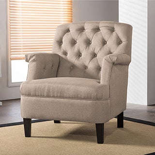 Jester Classic Retro Modern Contemporary Beige Fabric Upholstered Button-tufted Armchair