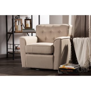 Canberra Modern Retro Contemporary Beige Fabric Upholstered Button-tufted Swivel Glider Lounge Chair with Arms