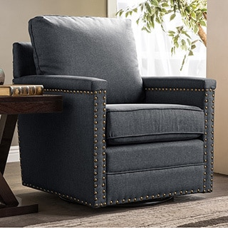 Ashley Modern and Contemporary Classic Retro Grey Fabric Upholstered Swivel Glider Armchair with Bronze Nailheads Trim