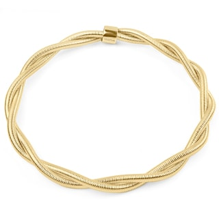 Women's Goldtone Stainless Steel Twisted Wire Textured Bangle Bracelet