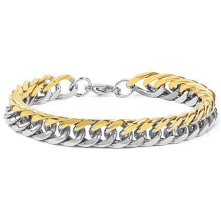 Men's Two-Tone Stainless Steel 8-Inch Curb Link Chain Bracelet