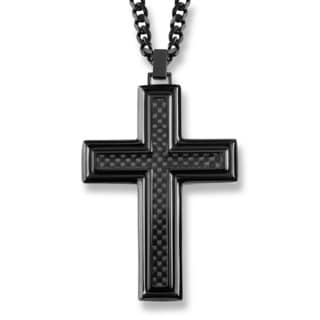 Crucible Blackplated Stainless Steel Carbon Fiber Inlay Cross Pendant