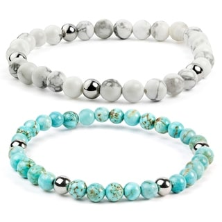 ELYA Stainless Steel Turquoise Beaded Bracelet