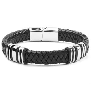 Crucible Stainless Steel and Black Woven Leather Bracelet