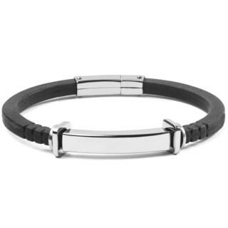 Men's Stainless Steel and Black Rubber ID Bracelet