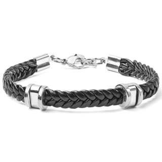 Men's Stainless Steel and Braided Rubber Bracelet