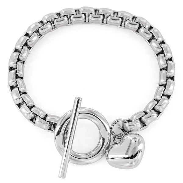 Women's Stainless Steel Heart Charm Boxed Chain Bracelet