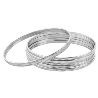 Women's Stainless Steel Textured Stackable 7-Piece Bangle Bracelet Set