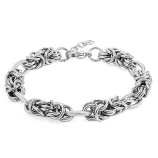 Women's Stainless Steel Link and Byzantine Bracelet