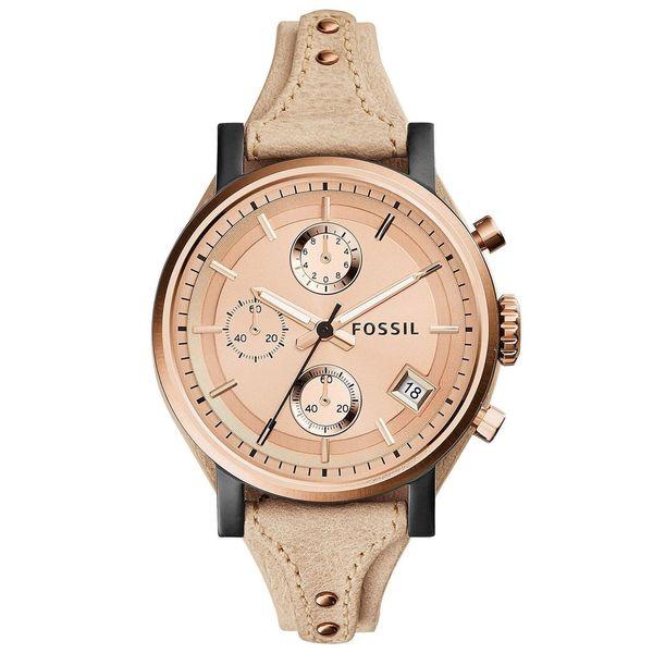 Fossil Women's ES3786 'Original Boyfriend' Chronograph Beige Leather Watch
