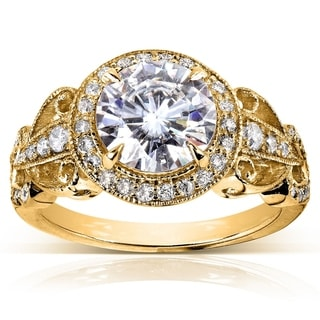 Annello 14k Yellow Gold Moissanite and 2/5ct TDW Diamond Art Deco Antique Engagement Ring (G-H, I1-I2)