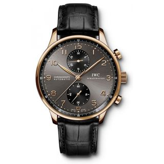 IWC Men's IW371482 'Portuguese' Chronograph Automatic 18kt Rose Gold Black Leather Watch