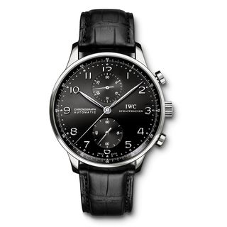 IWC Men's IW371447 'Portuguese' Chronograph Automatic Black Leather Watch
